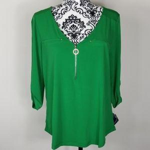 NWT Women's Medium Green JanetChung blouse